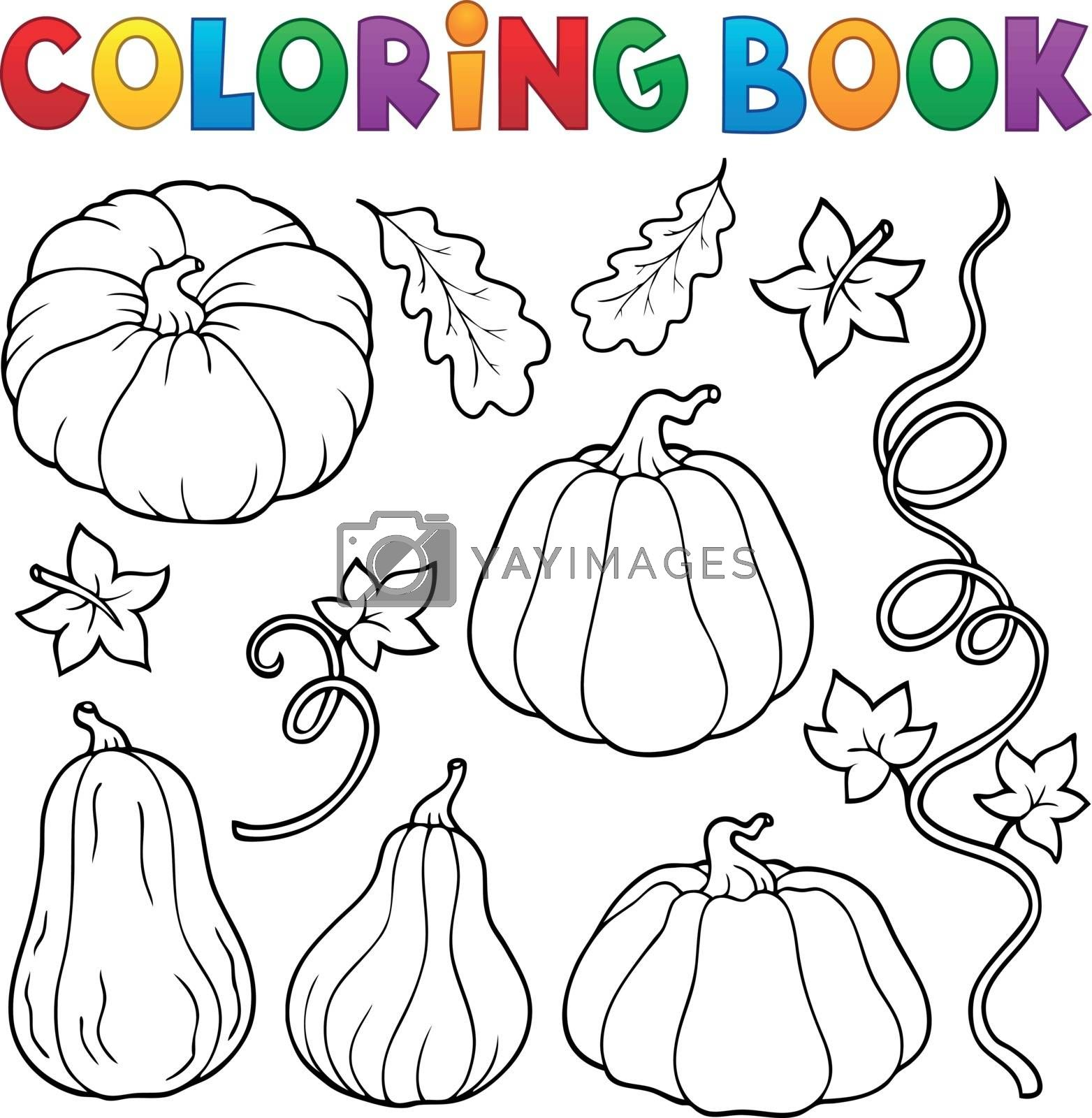 Coloring book pumpkins collection 1 - eps10 vector illustration.