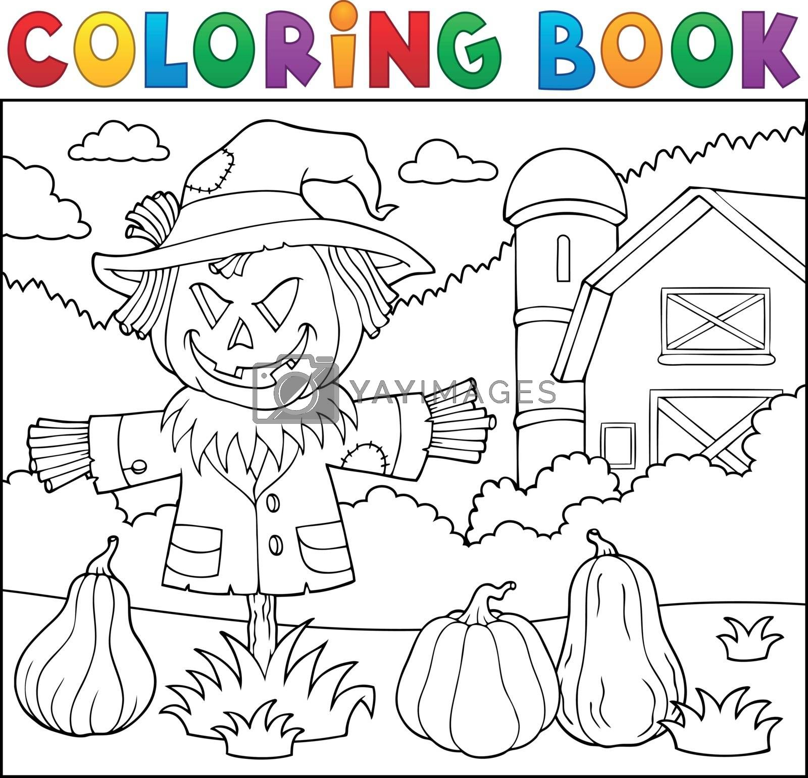 Coloring book scarecrow topic 2 - eps10 vector illustration.
