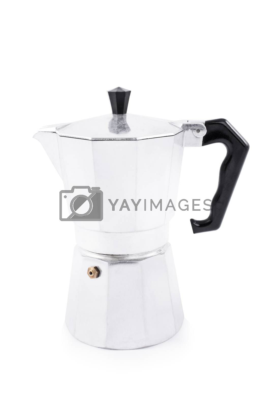 Side view of a metallic moka maker, isolated on white background.