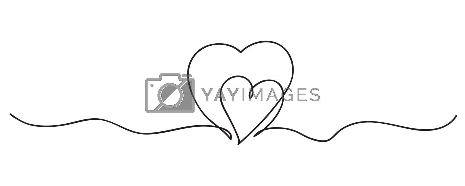 Continuous line art drawing. Couple of hearts symbolize love. Abstract hearts woman and baby. Vector illustration.