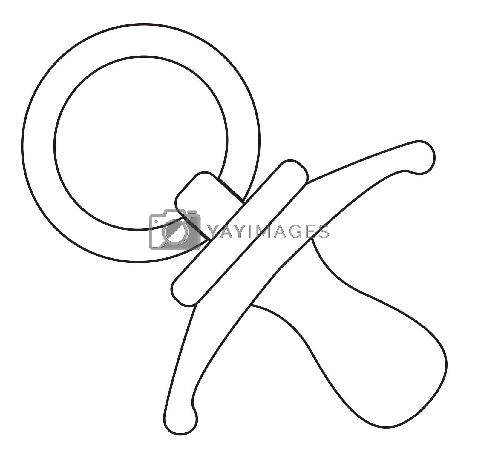 Babies Pacifier Line Drawing by Bigalbaloo