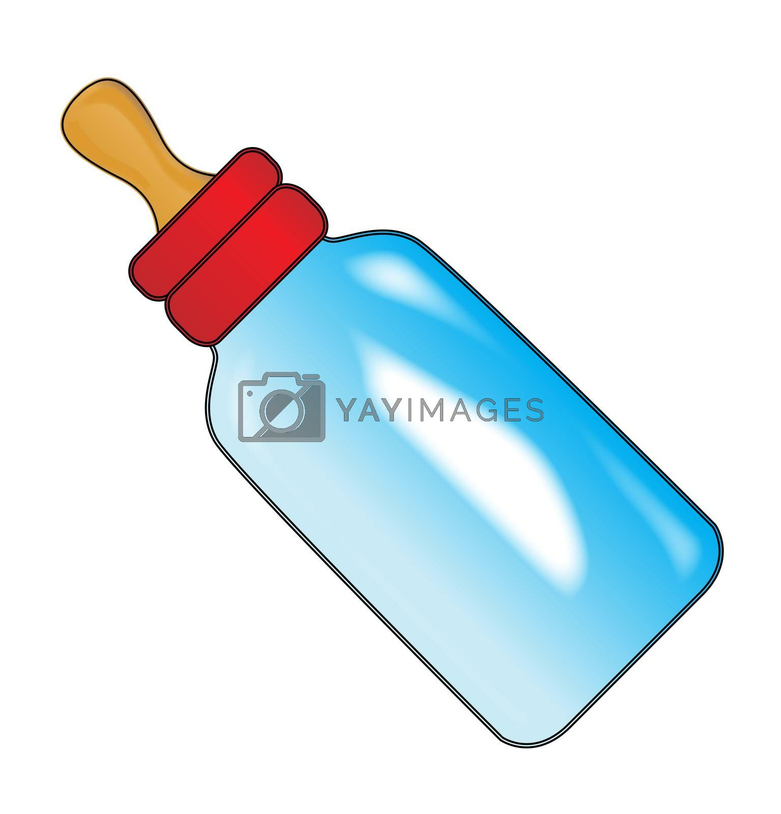 A babies milk bottle feeder isolated on a white background