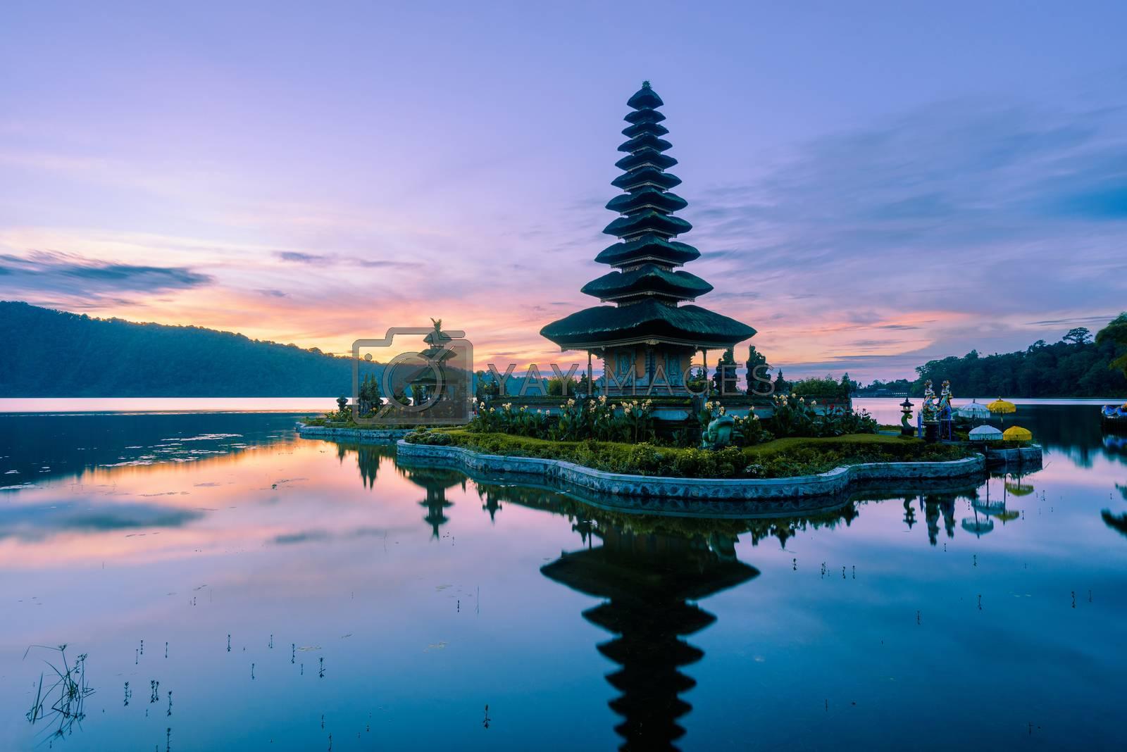 Pura Ulun Danu Beratan temple at sunrise in Bali, Indonesia