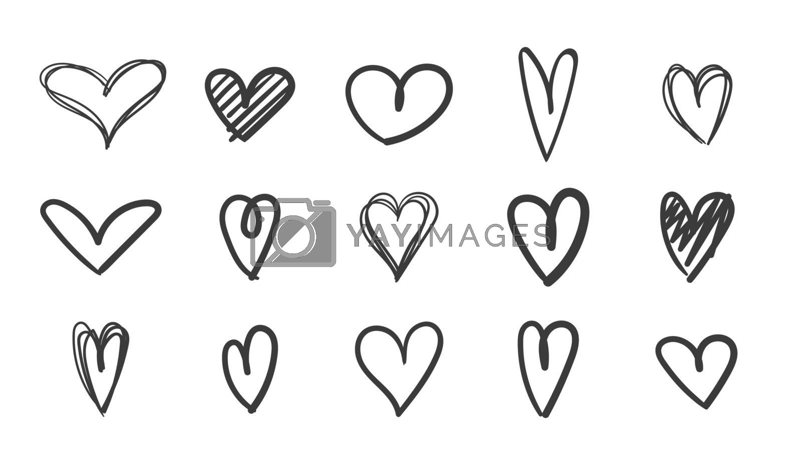 Heand drawn heart icon set. Black heart sketch art on background. Live broadcast of video, chat likes. Love symbol