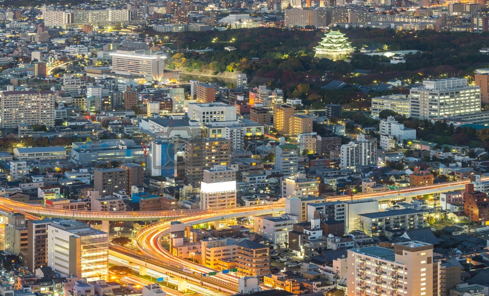Aerial view of Nagoya night in Japan