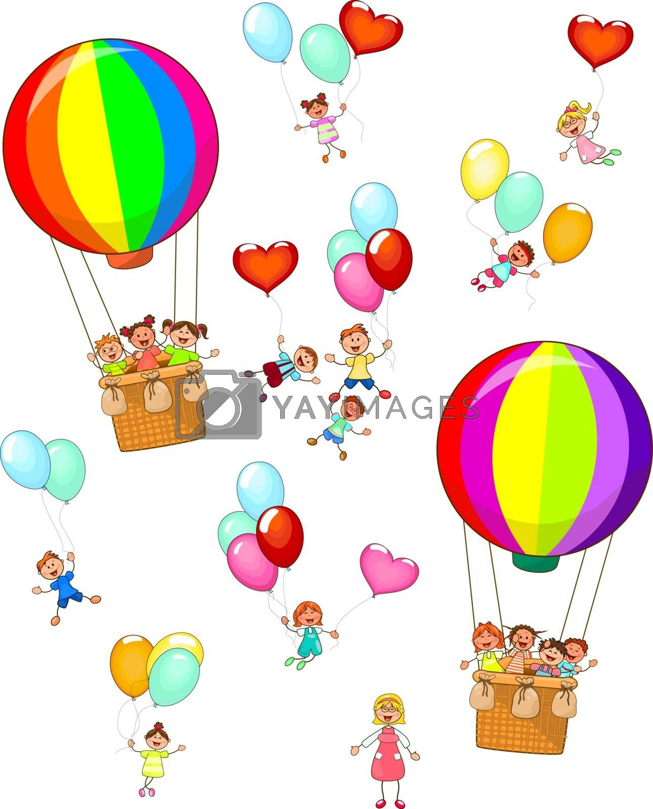 Small children fly on balloons by liolle