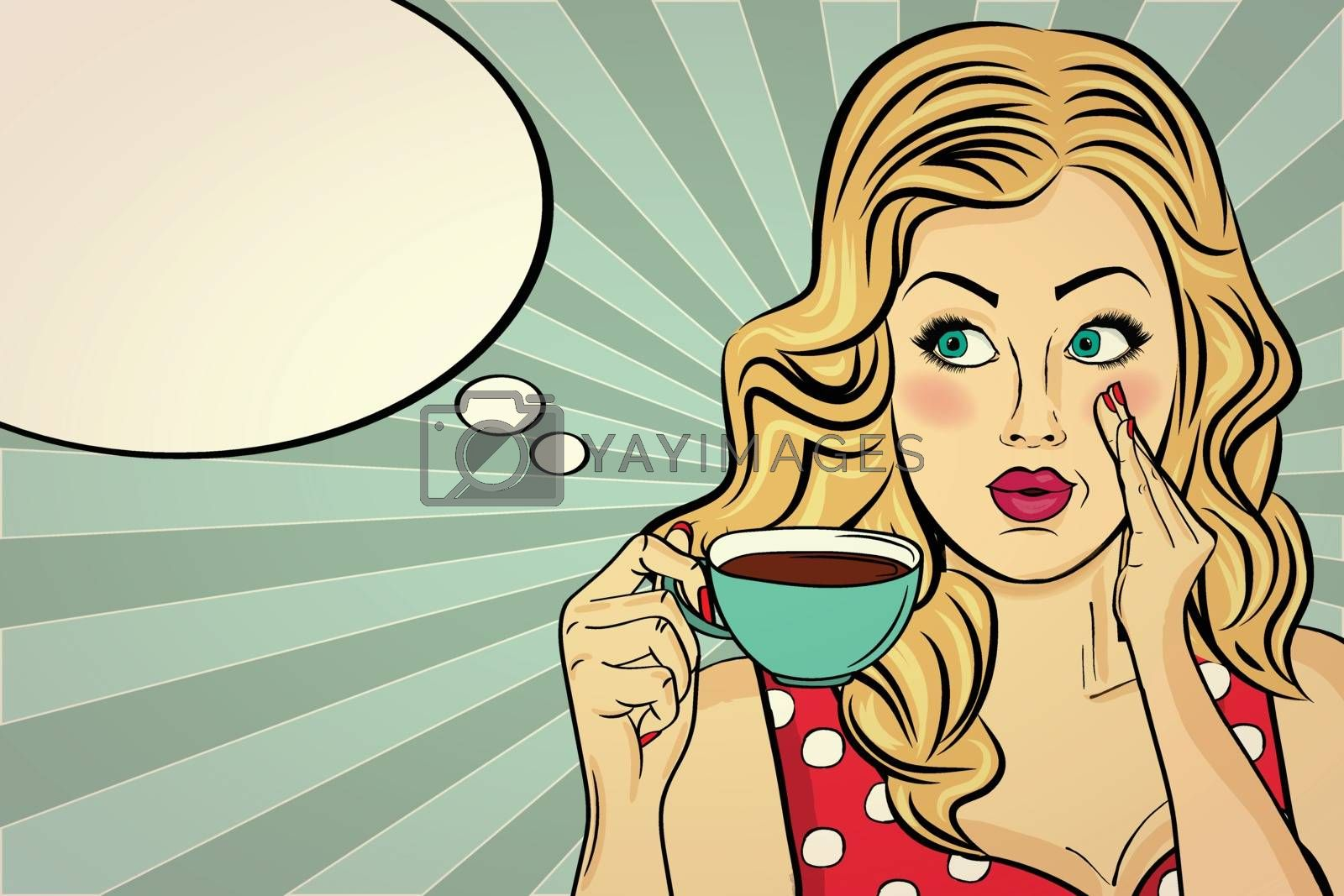 Sexy blonde pop art woman with coffee cup. Advertising poster in comic style. Vector