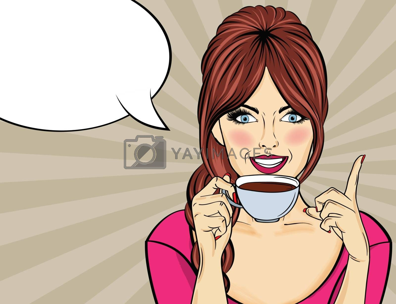 Sexy pop art woman with coffee cup. Advertising poster in comic style. Vector