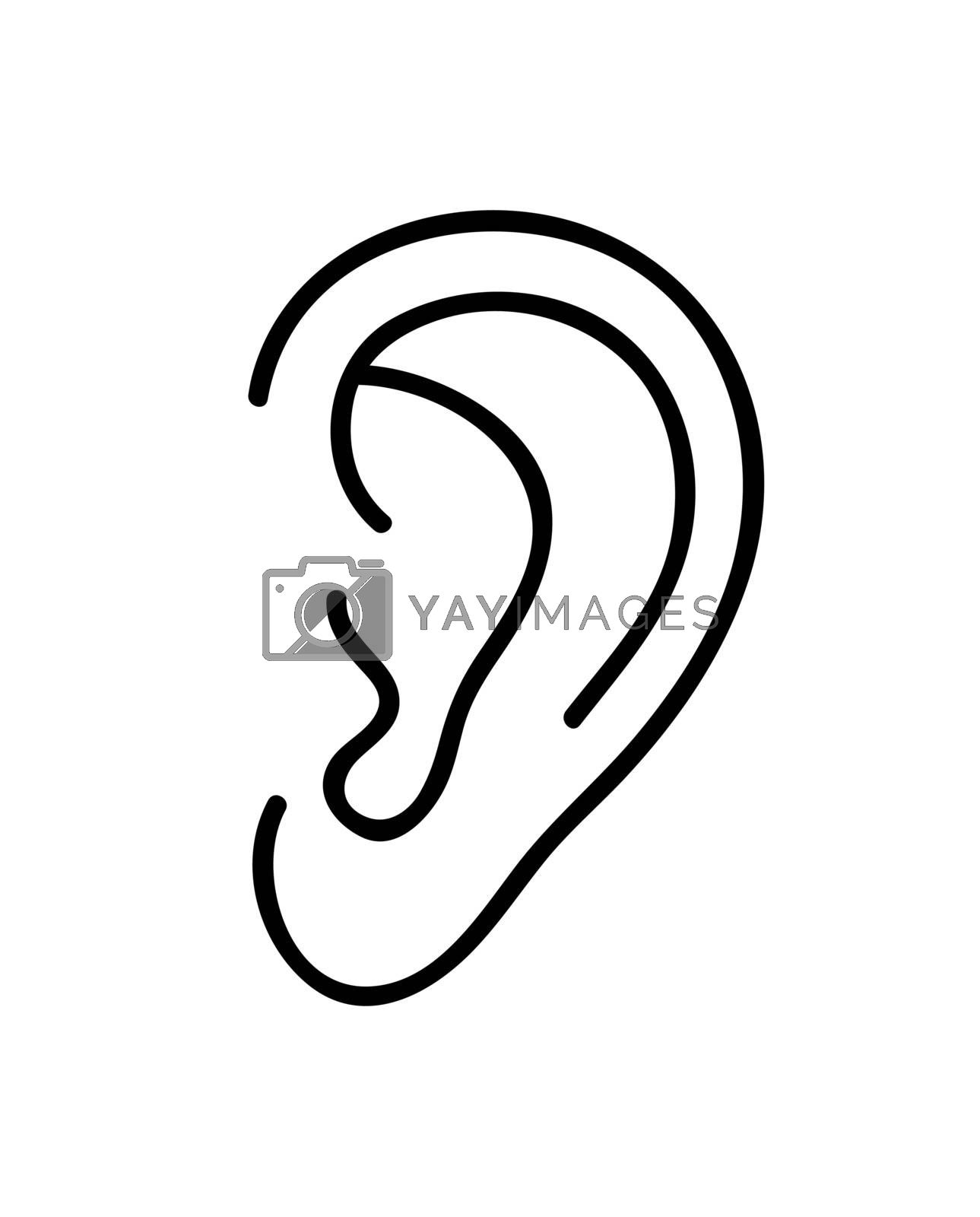 Ear icon. Continuous line art drawing. Vector illustration. by ESSL