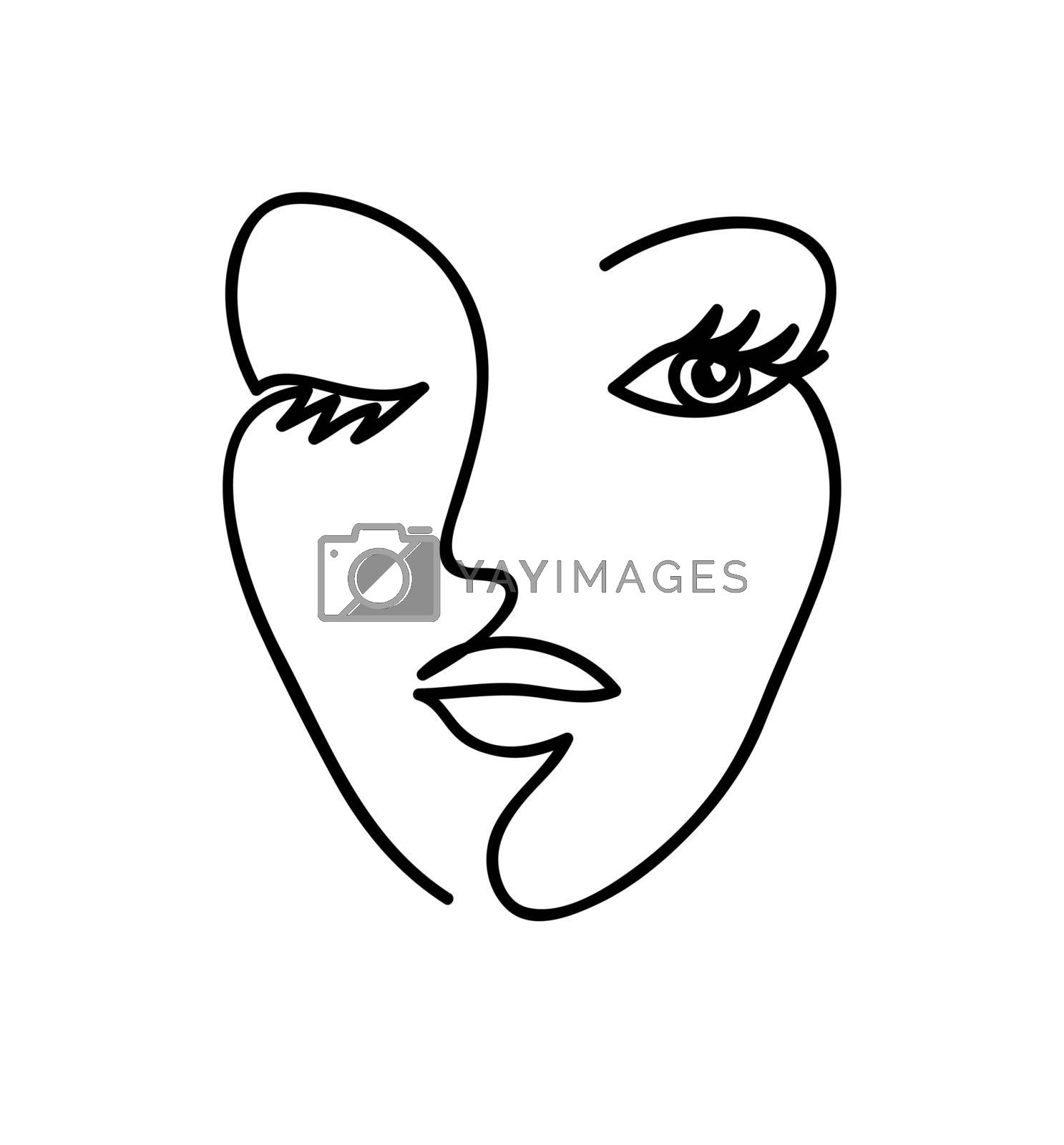 Abstract woman face. Black and white hand drawn line art. Outline vector illustration.