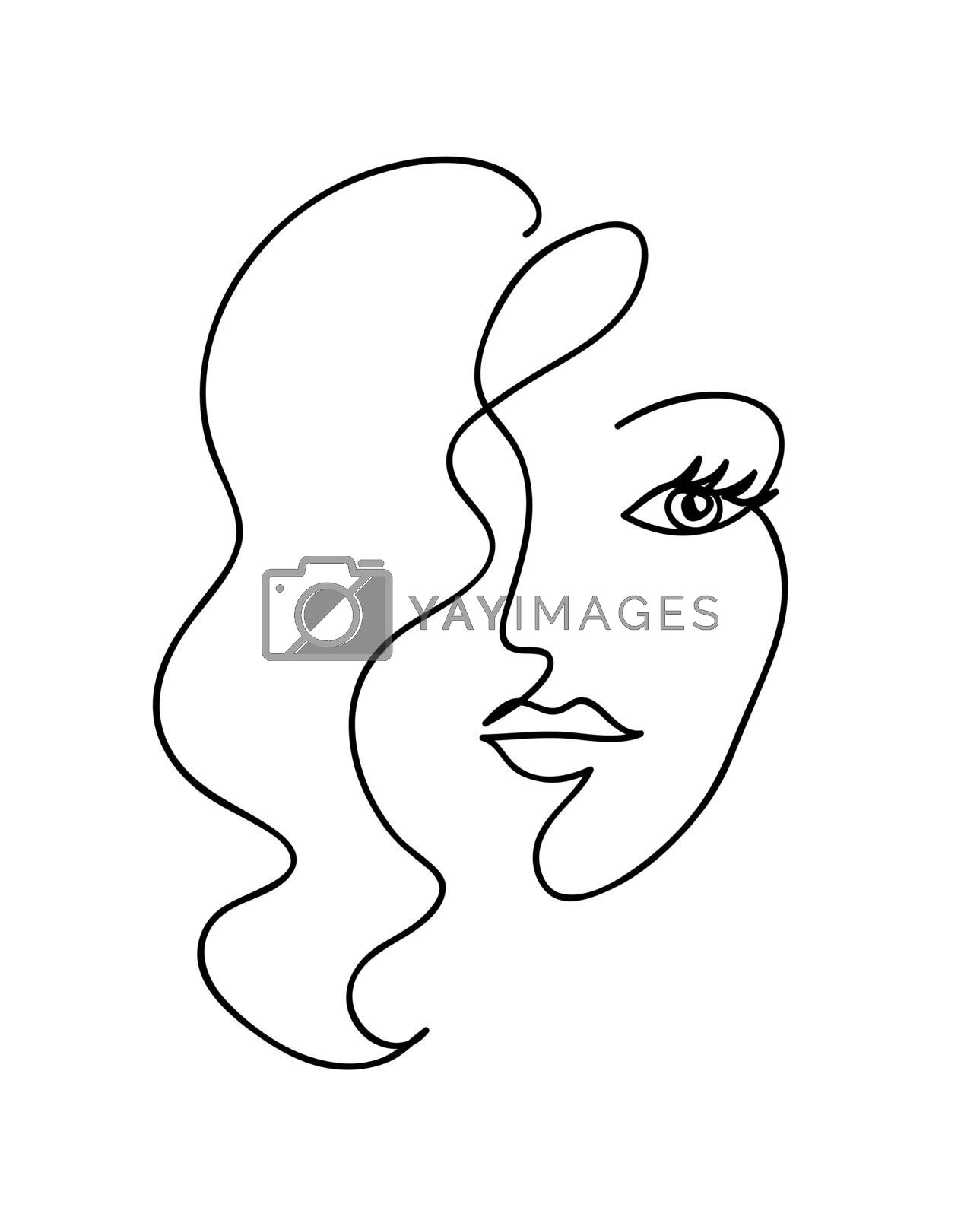 Abstract woman face with wavy hair. Black and white hand drawn line art. Outline vector illustration by ESSL