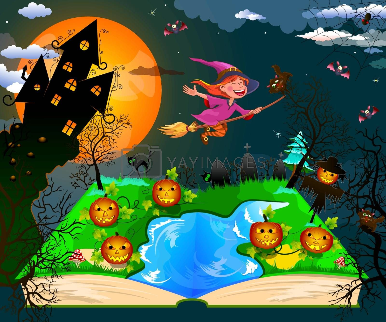 Night on Halloween. Joyful little witch flying on a broomstick in the night sky, against the backdrop of a castle, a pumpkin and trees, surrounded by bats. Witch and cat flying on a broom.