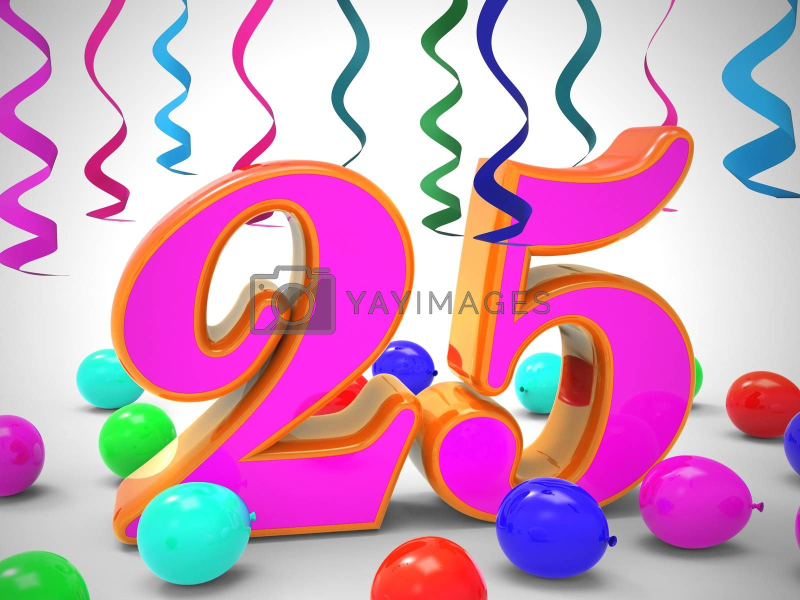 Twenty fifth birthday celebration balloons shows a happy event. Celebrating 25th with a joyful 25 party - 3d illustration