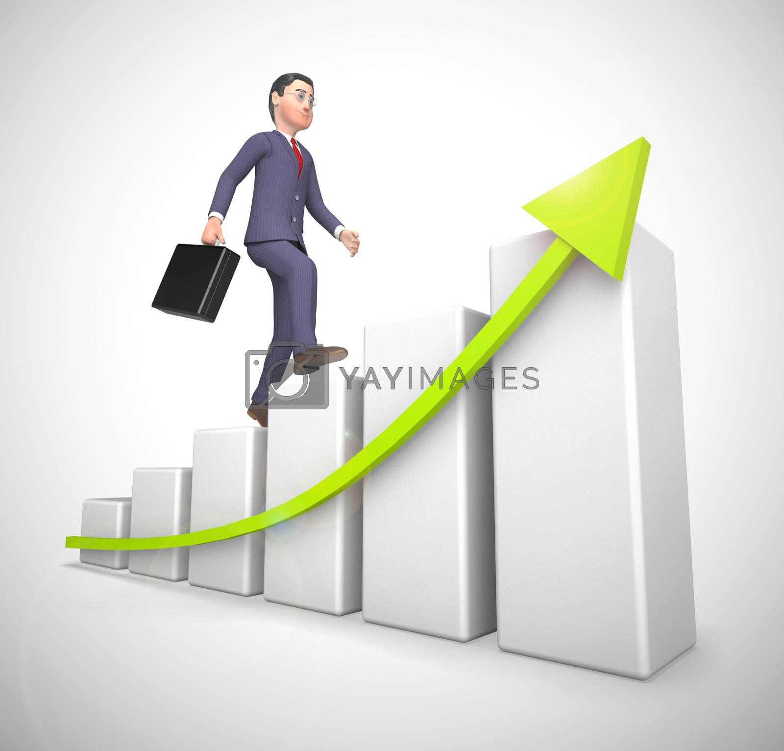 Graph going upwards means success and increased profits. Business growing and trends higher for gain - 3d illustration