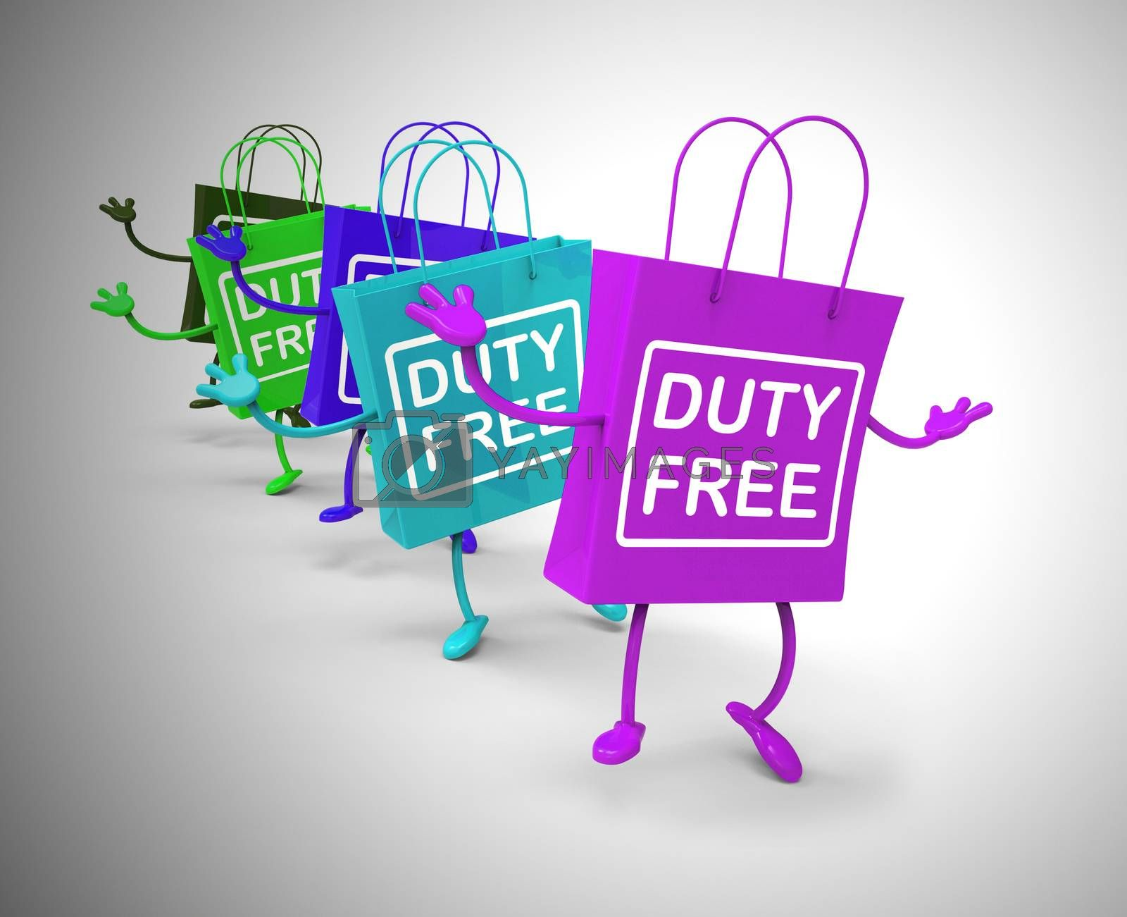 Duty-free concept icon means no customs payable. A product with no tax like airport shopping - 3d illustration