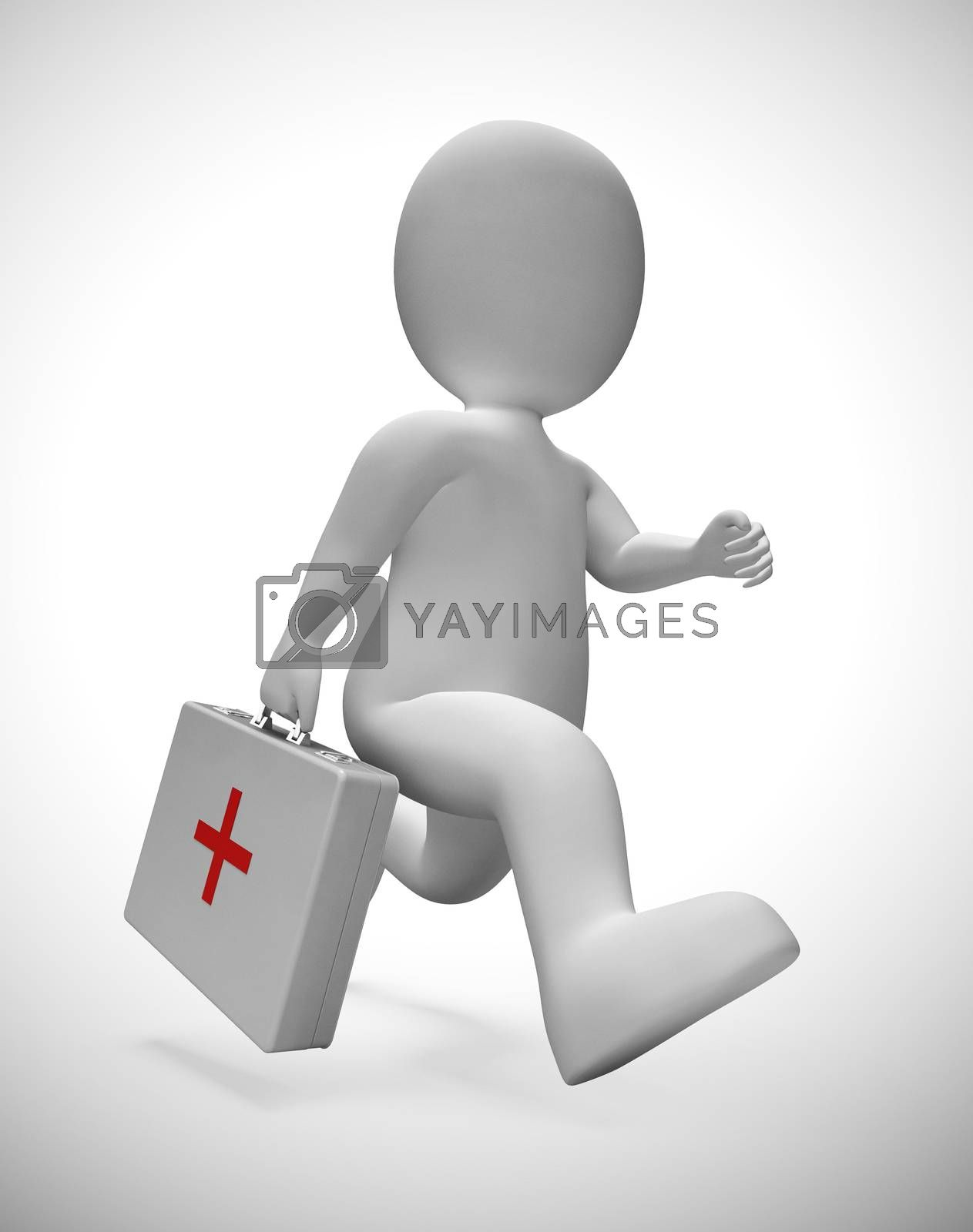 First aid kit for emergencies and medical assistance or treatment. Urgent care as a first responder - 3d illustration