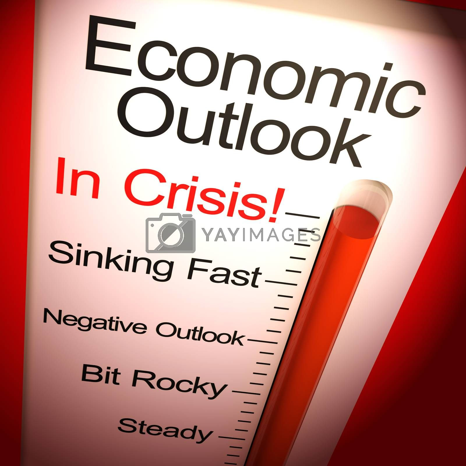 Economic outlook in crisis due to depression or financial turmoil. Deflation or business depression forcing credit crunch - 3d illustration