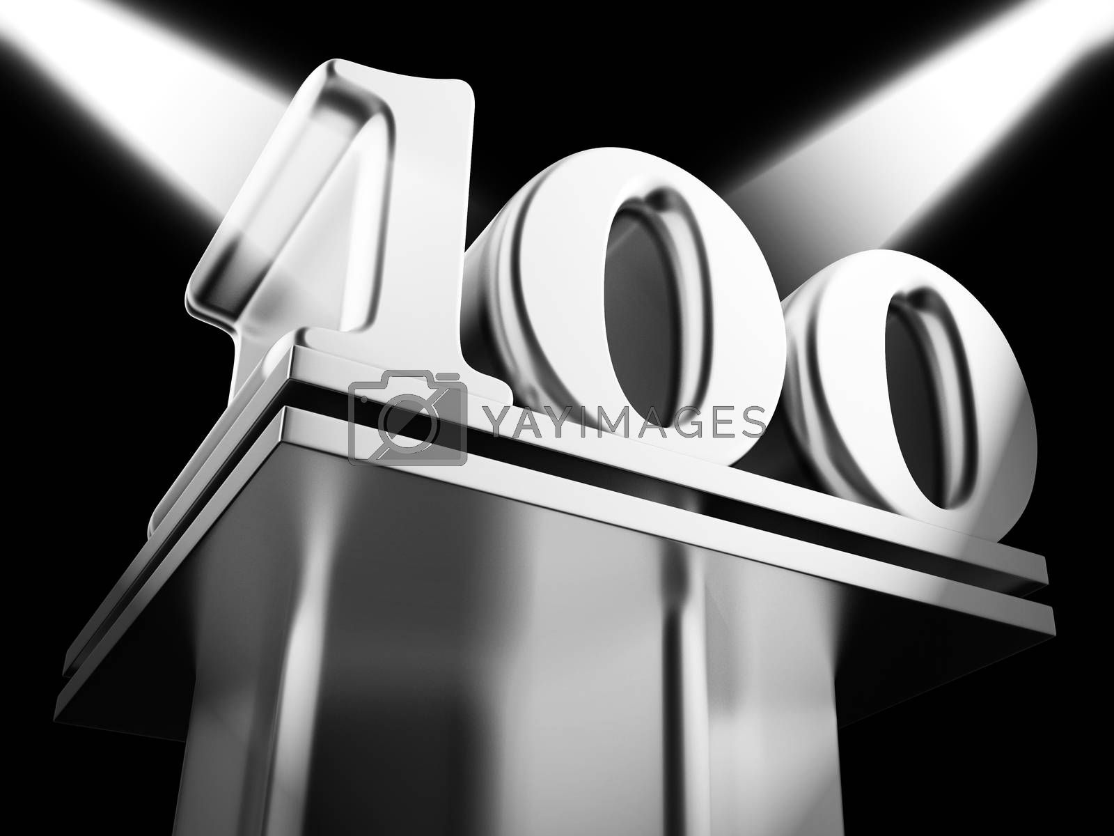 One hundred year celebration icon shows 100 years anniversary. Wishing warm congratulations on a centennial - 3d illustration