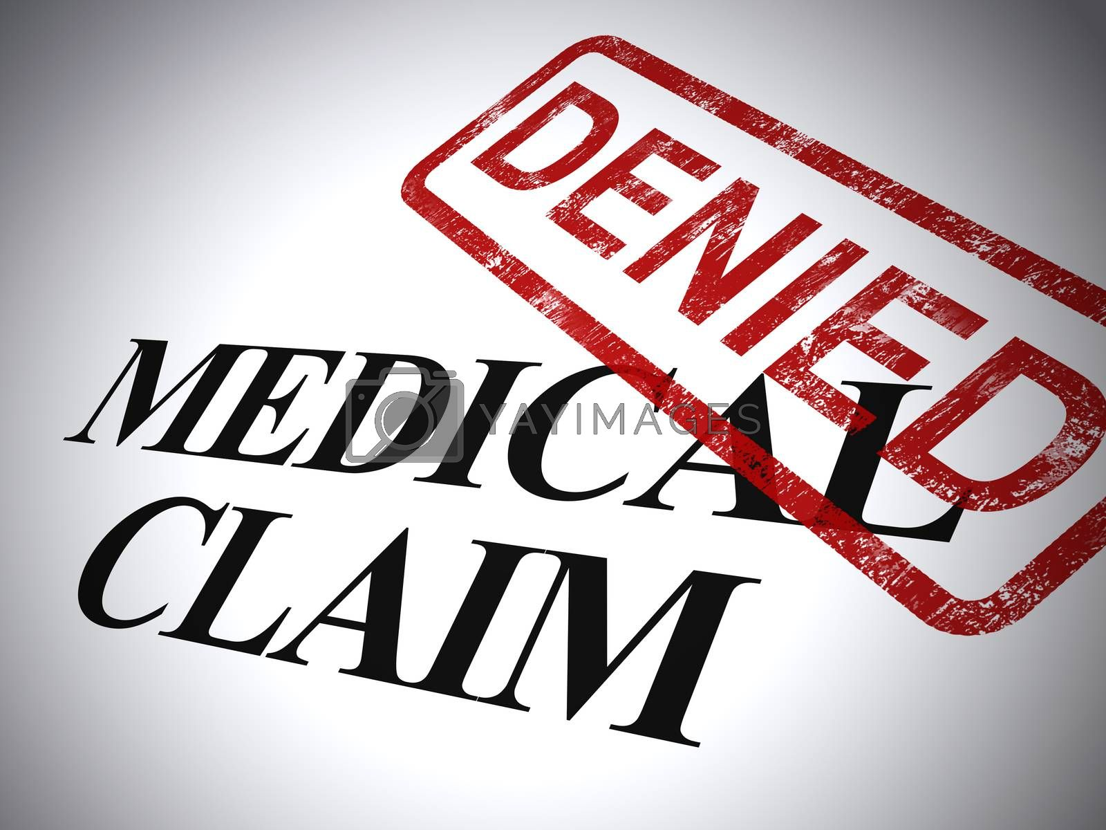 Medical claim denied form shows refused costs for health expenses. Healthcare insurance claim disallowed - 3d illustration