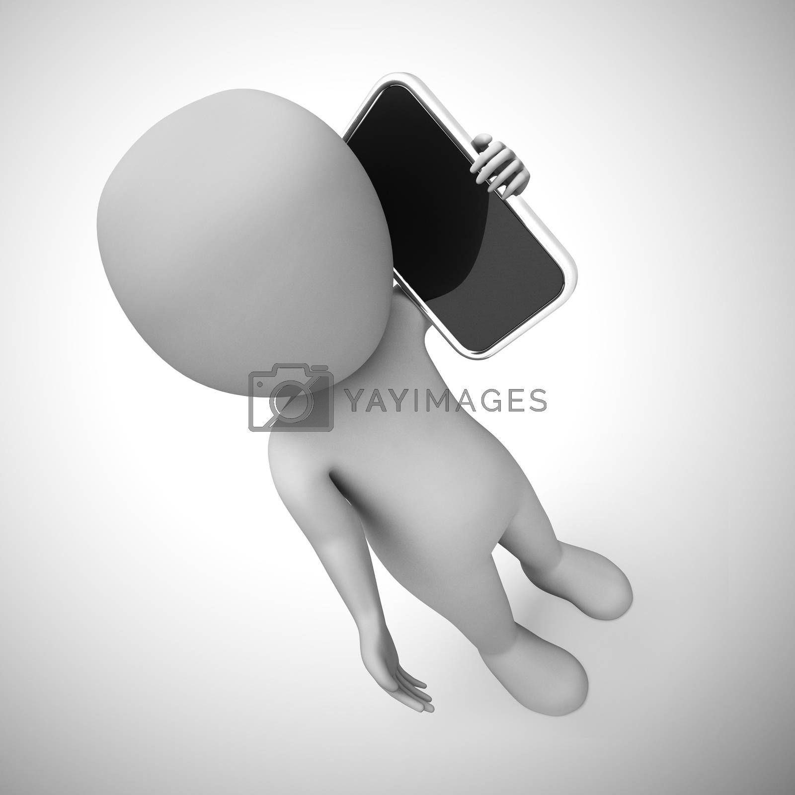 Talking on a mobile phone or cellular device for business or personal. Chatting discussing and conversing - 3d illustration