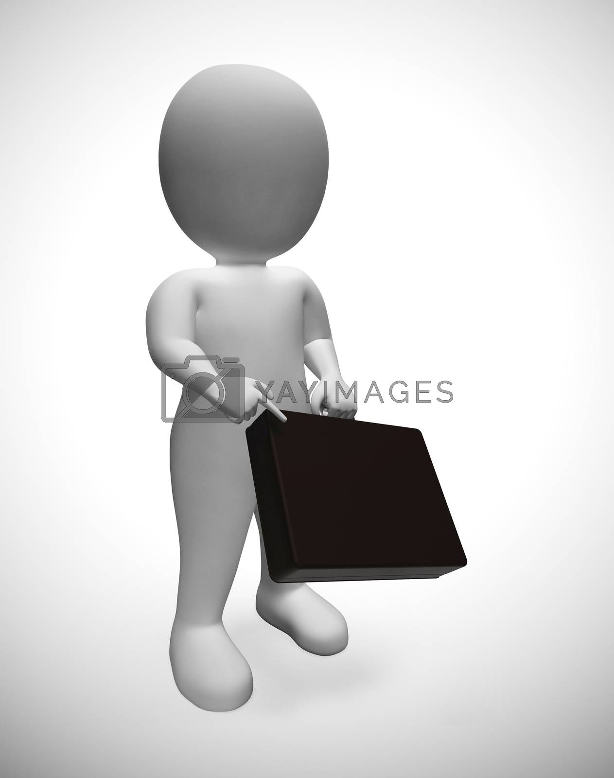 Businessman with briefcase character depicts an entrepreneur or salesman.  A professional executive with a career in the city - 3d illustration