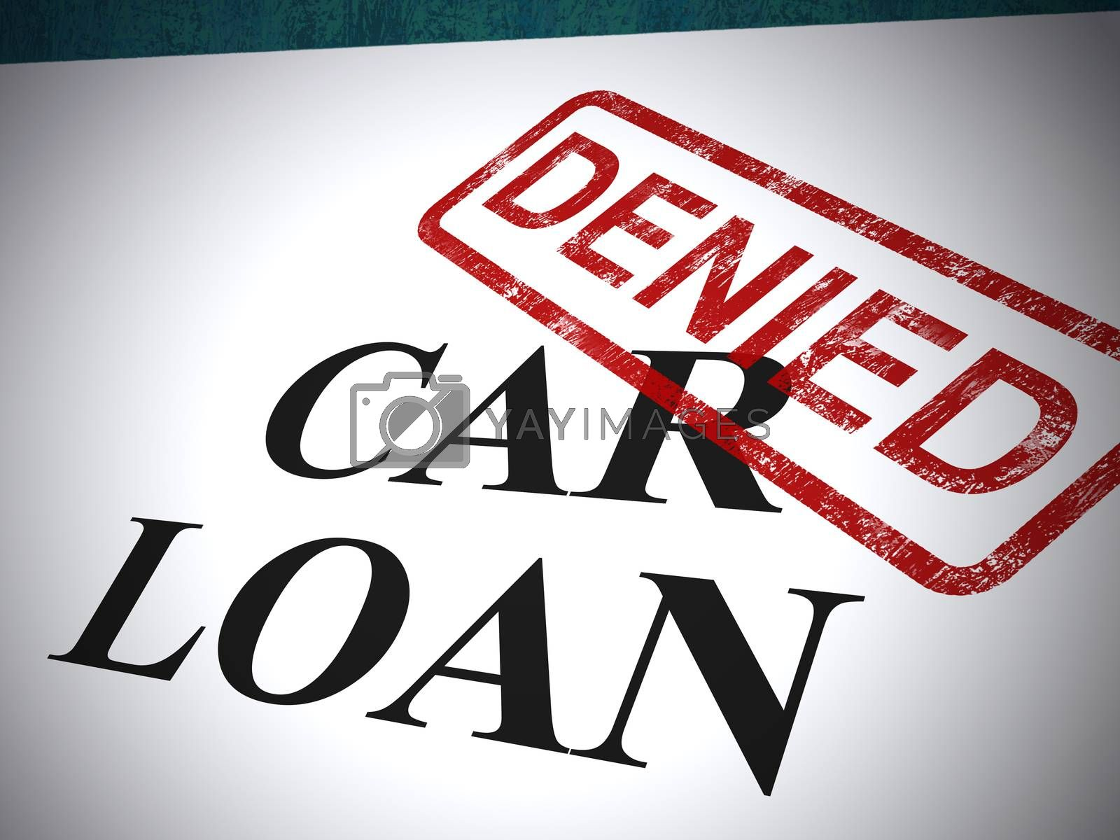 Car loan application denied stamp shows rejection of auto finance. A line of credit or lease document - 3d illustration