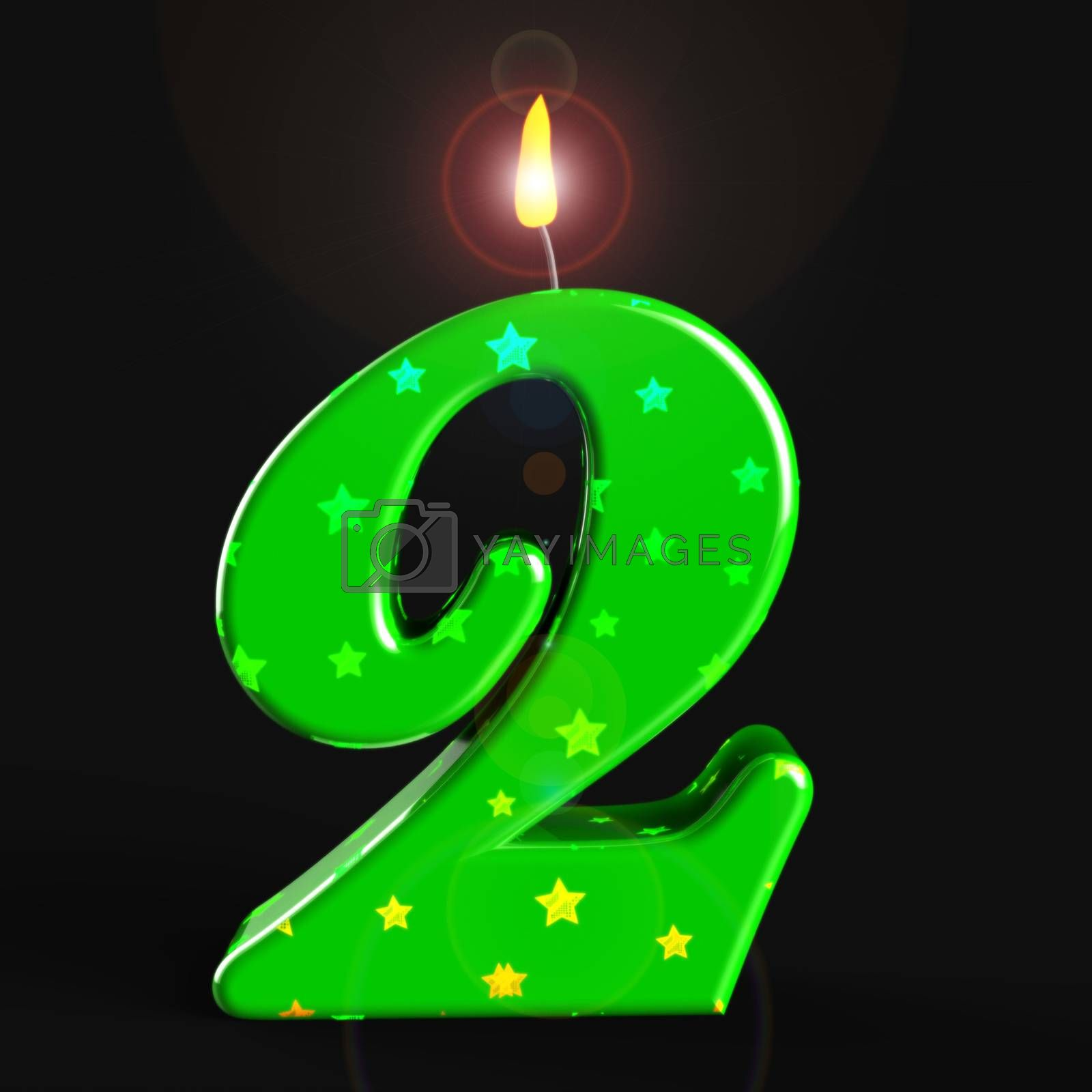 Second birthday celebration candle shows a happy event. Celebrating 2nd with a joyful childs party - 3d illustration