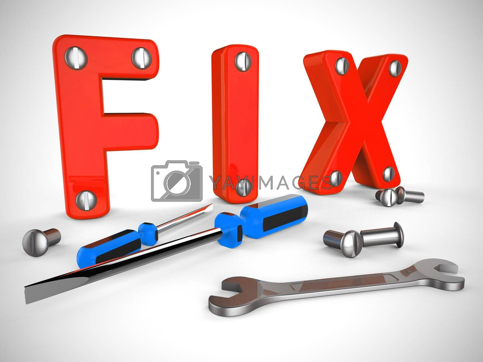 Pixel repair tools mean mending or patching a problem. Reconstruction or overhaul for improvement - 3d illustration