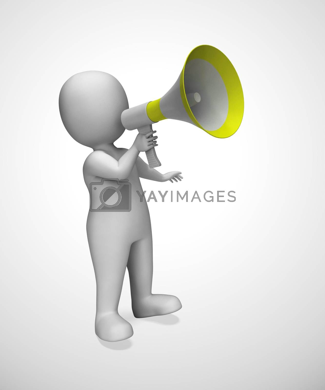 Megaphone used to give opinion announcement or make a speech. Loud hailer proclaiming complaint and grievance - 3d illustration