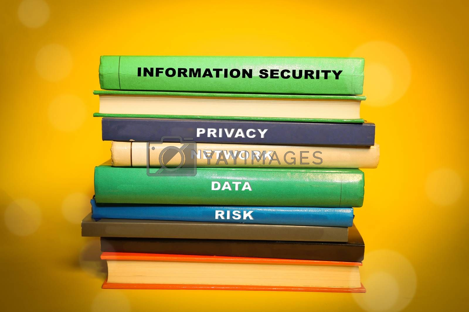 Royalty free image of Information Security themed books - Network and privacy  by inspireme