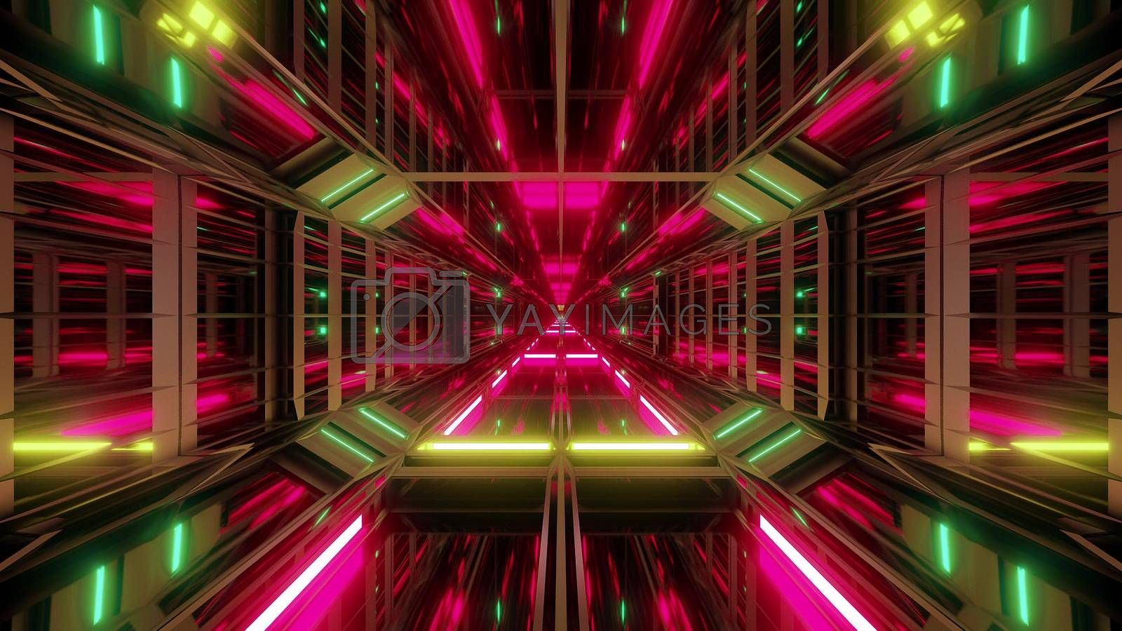 Royalty free image of futuristic scifi glass tunnel with nice reflections 3d illustration wallpaper background by tunnelmotions