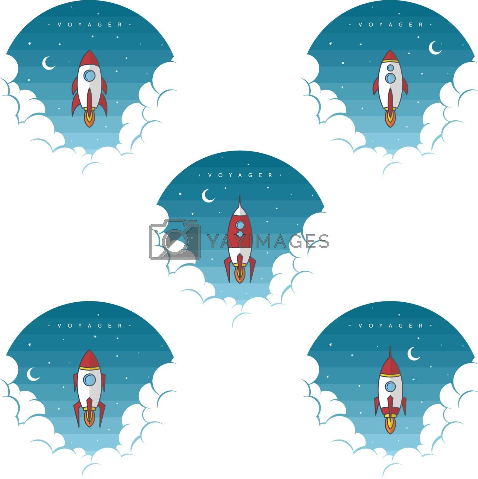 Royalty free image of rocket launch space ship for galaxy exploration set by vector1st