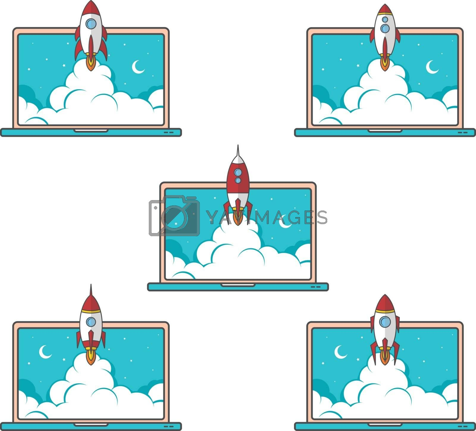 Royalty free image of laptop notebook rocket booster vector set collection by vector1st