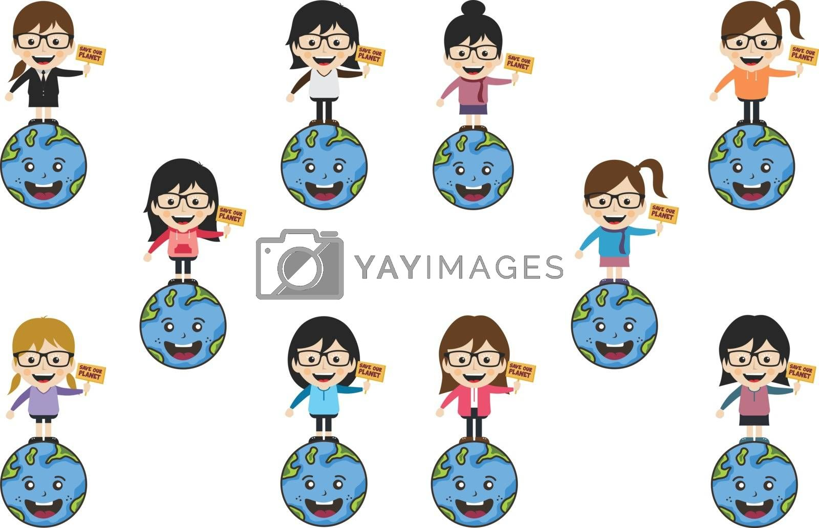 Royalty free image of save our planet earth campaign woman holding our world vector set by vector1st