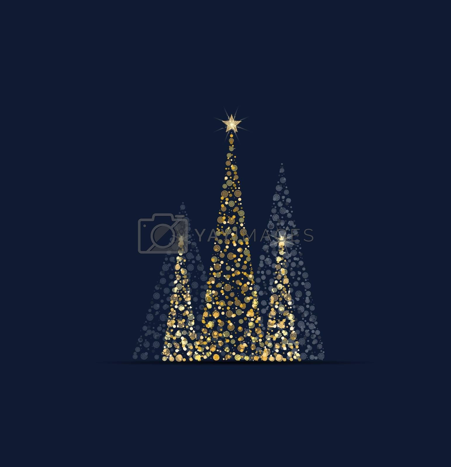 Royalty free image of Golden christmas tree by odina222
