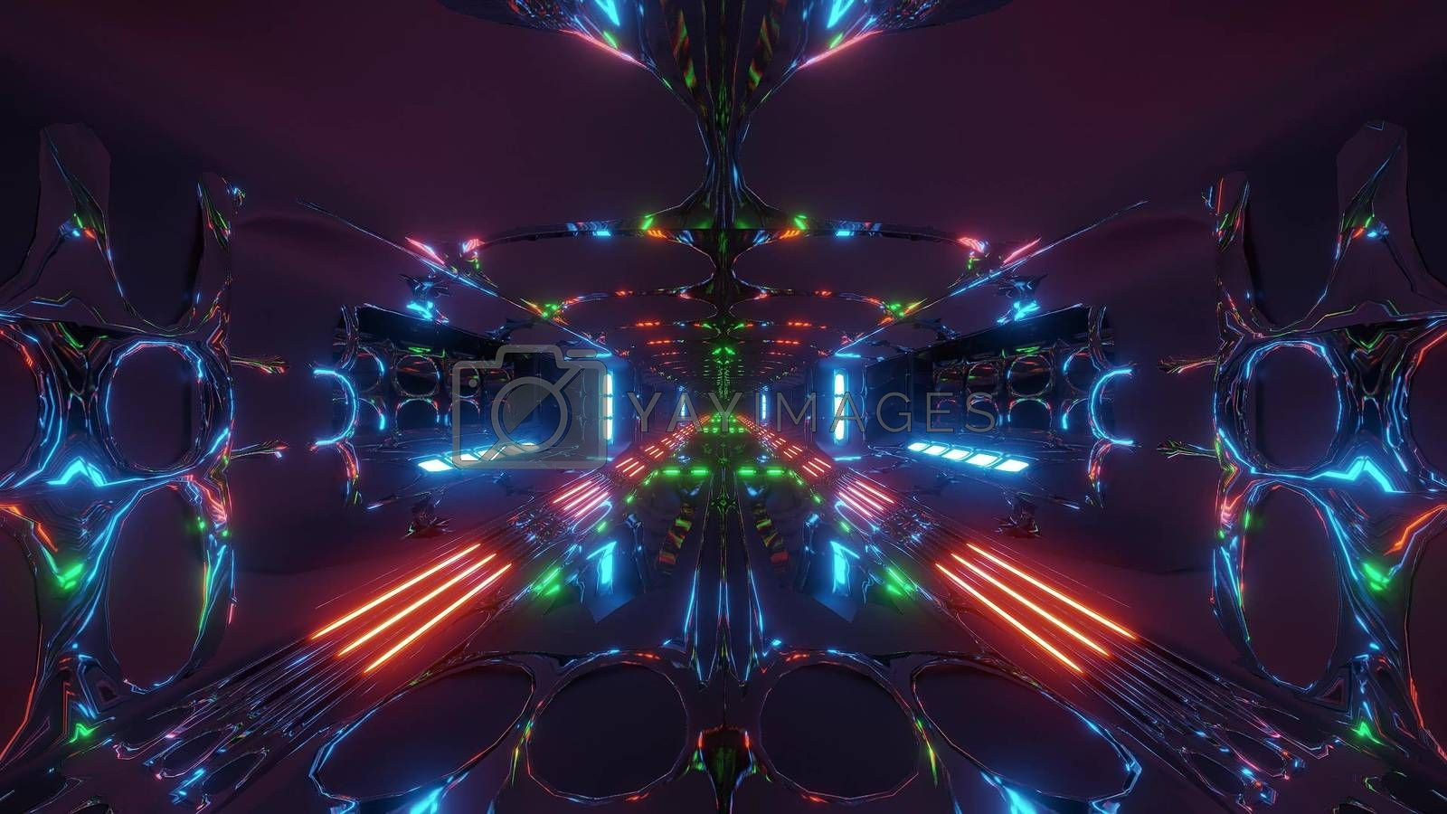 Royalty free image of futuristic scifi alien tunnel building 3d rendering wallpaper background by tunnelmotions