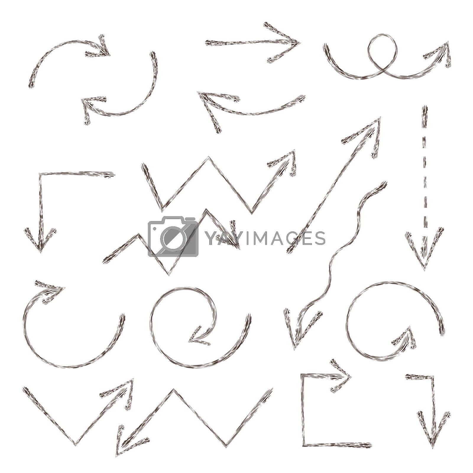 Royalty free image of Grunge sketch arrow. Hand drawn ink arrows set. Handdrawn element by Elena_Garder