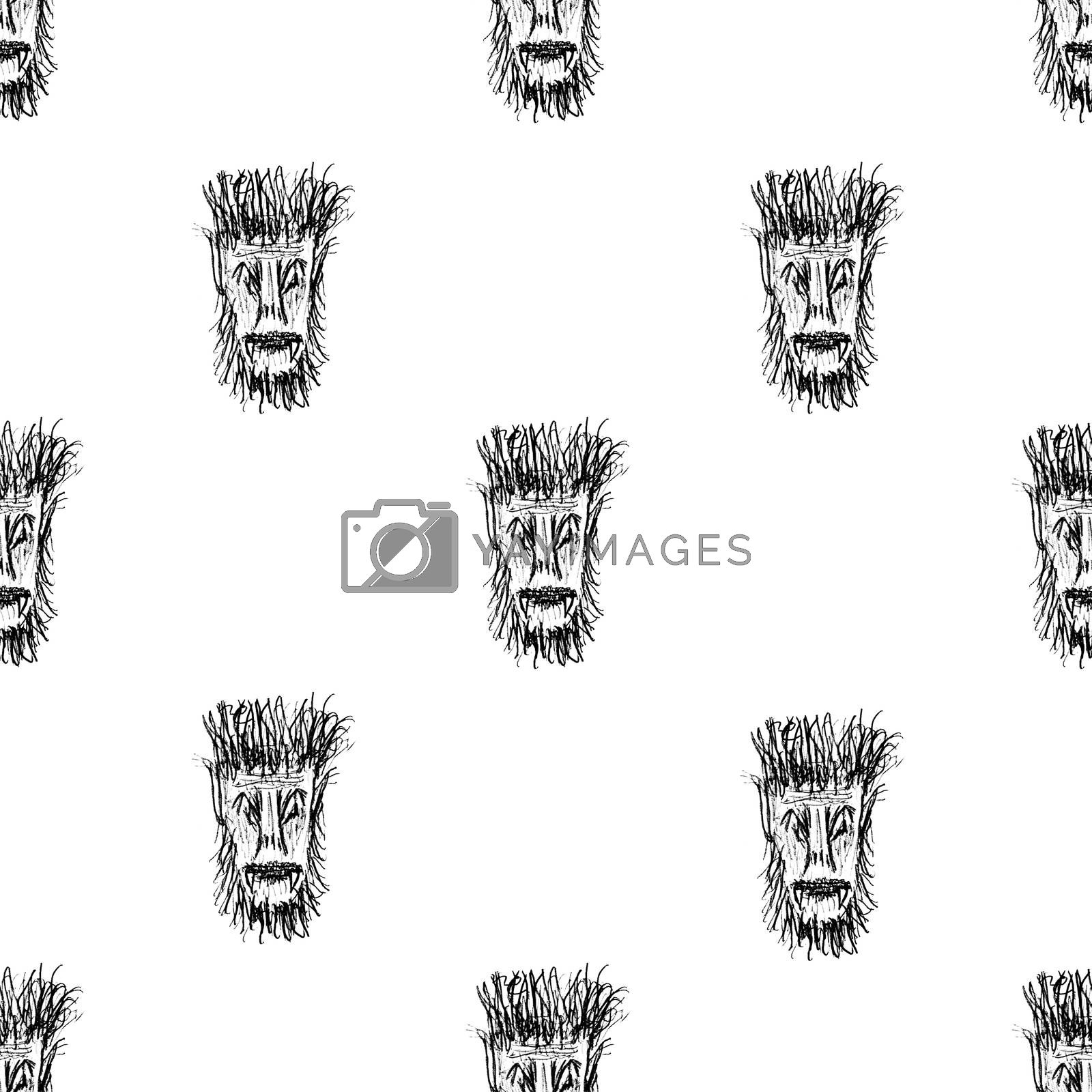 Royalty free image of Black and White Monster Head Motif Seamless Pattern by DanFLCreative