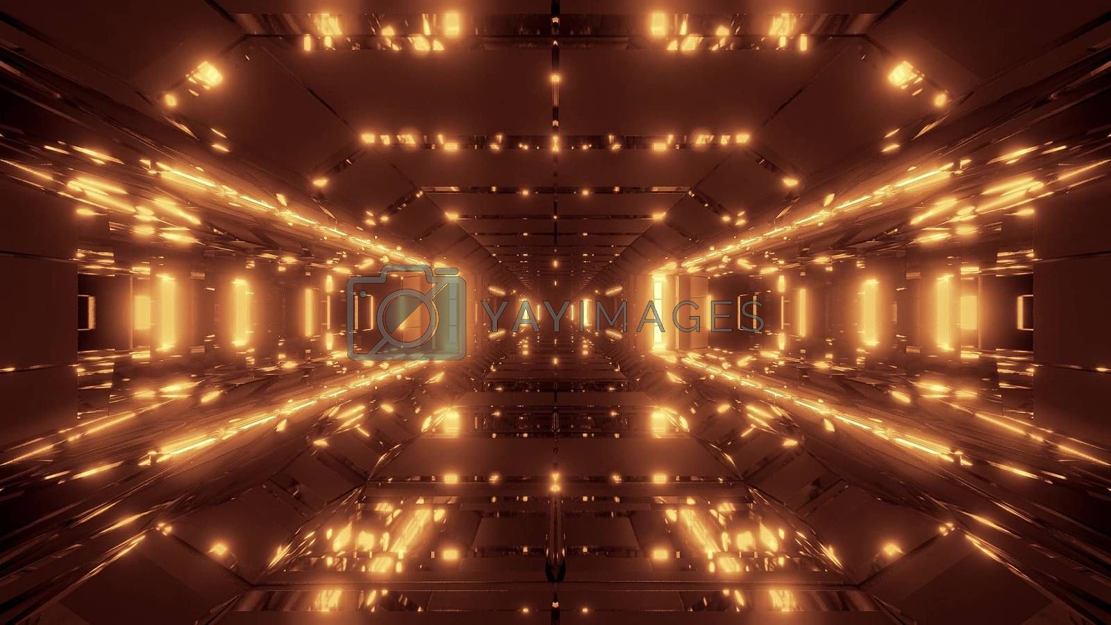 Royalty free image of futuristic sci-fi space hangar with nice glowing lights 3d illustration wallpaper background by tunnelmotions