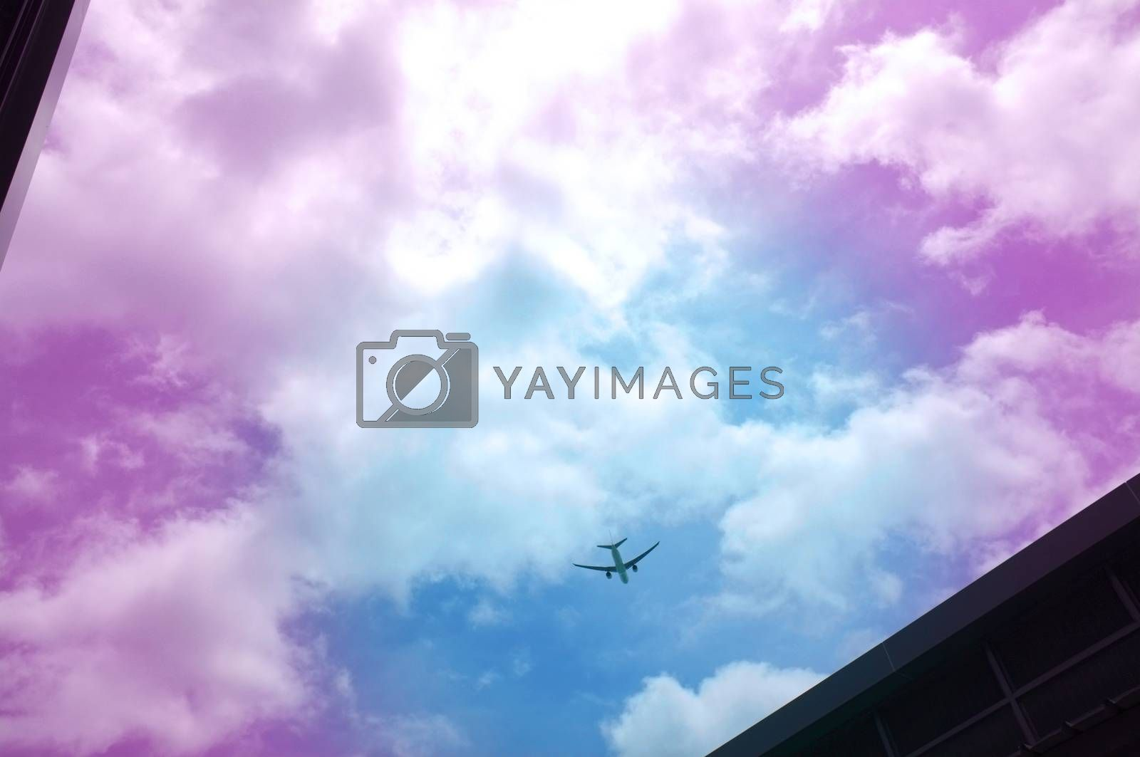 Royalty free image of Silhouette Airplane in the beautiful sky by Hepjam