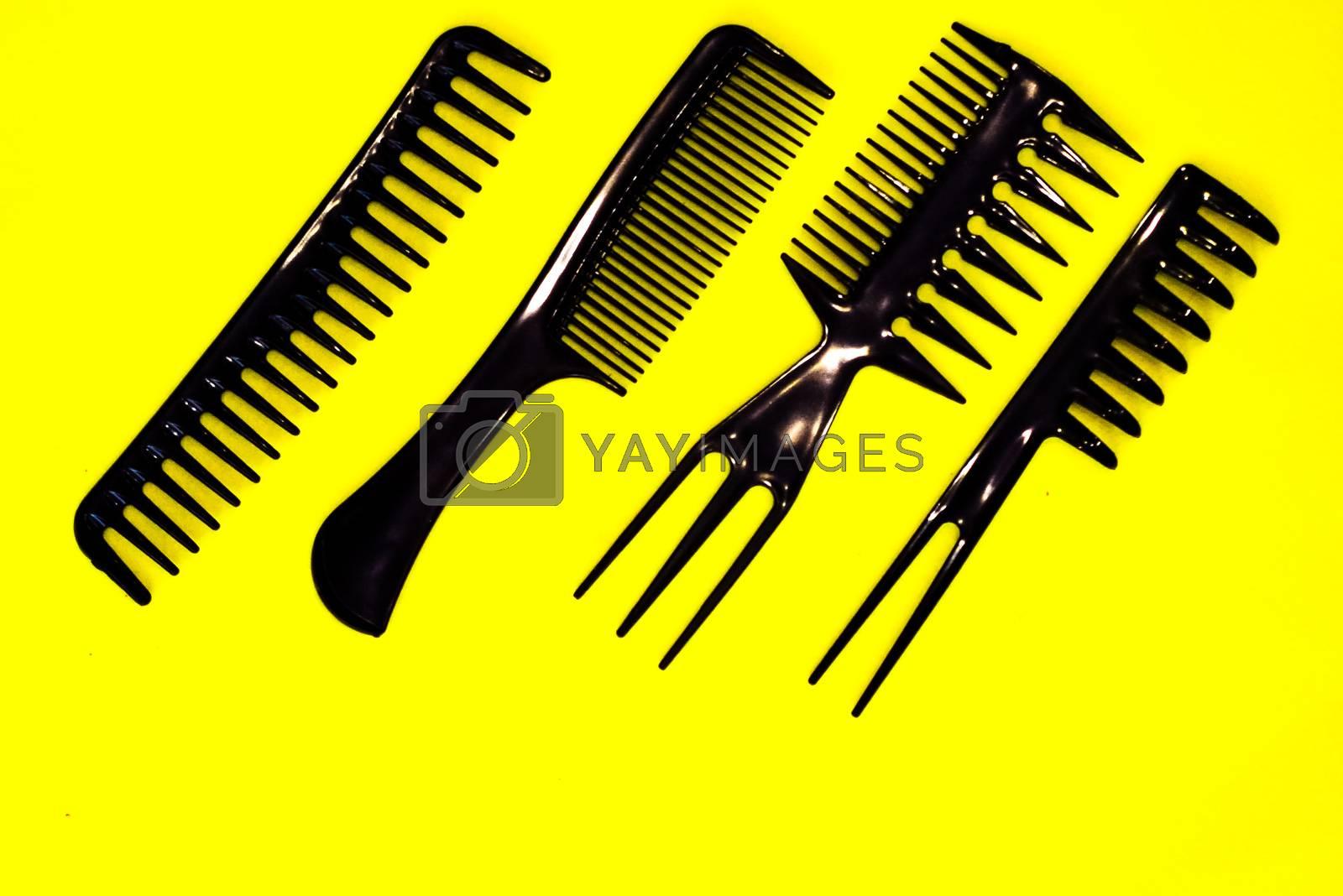 Royalty free image of black hairbrush set for professional hairdresser by alexandr_sorokin