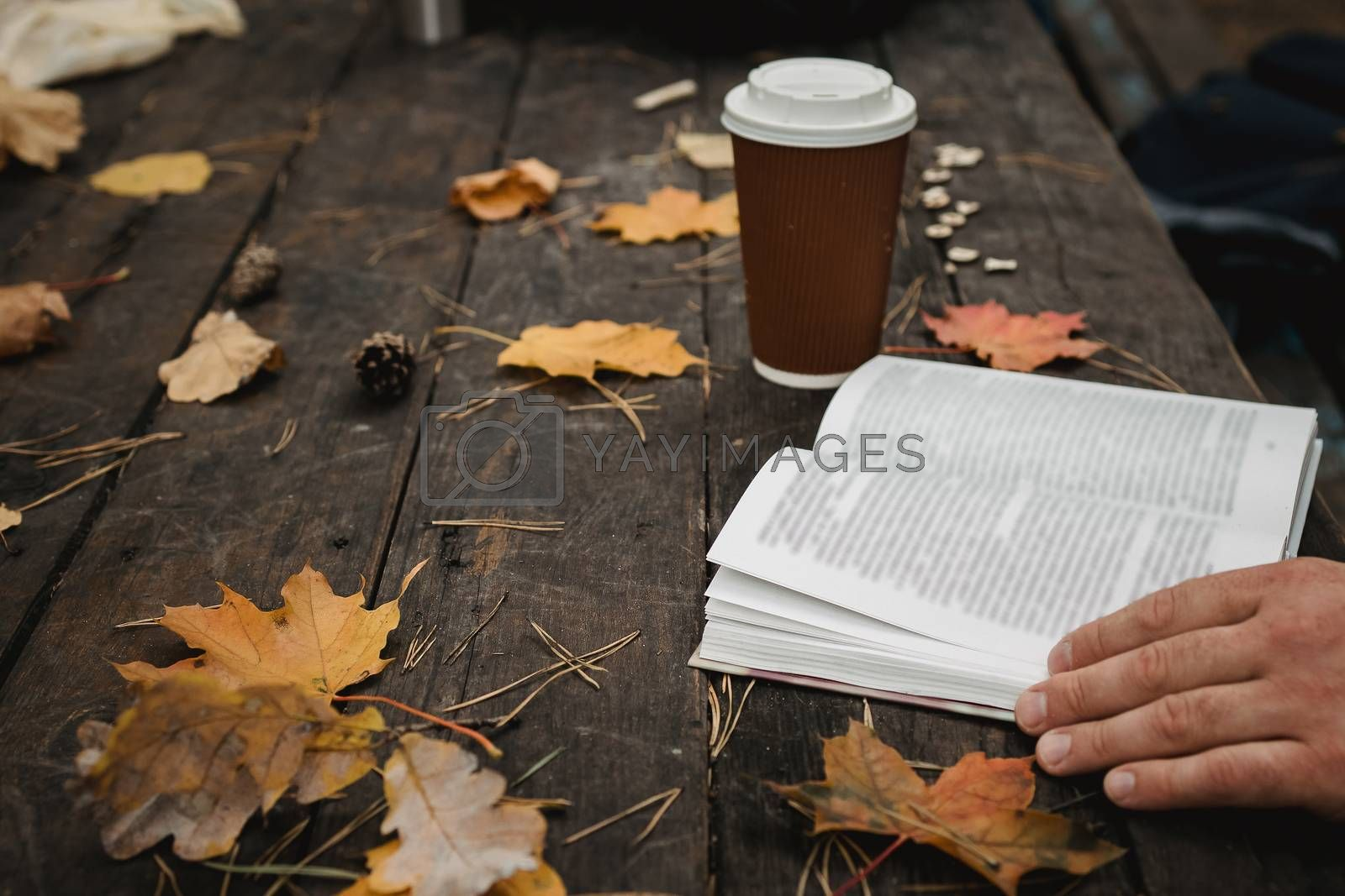 Royalty free image of male female reads a book in autumn park drinks takeaway coffee coffee. Close-up over shoulder, blurred. top view, save space. Seen hands. In a dark retro style by Tanacha