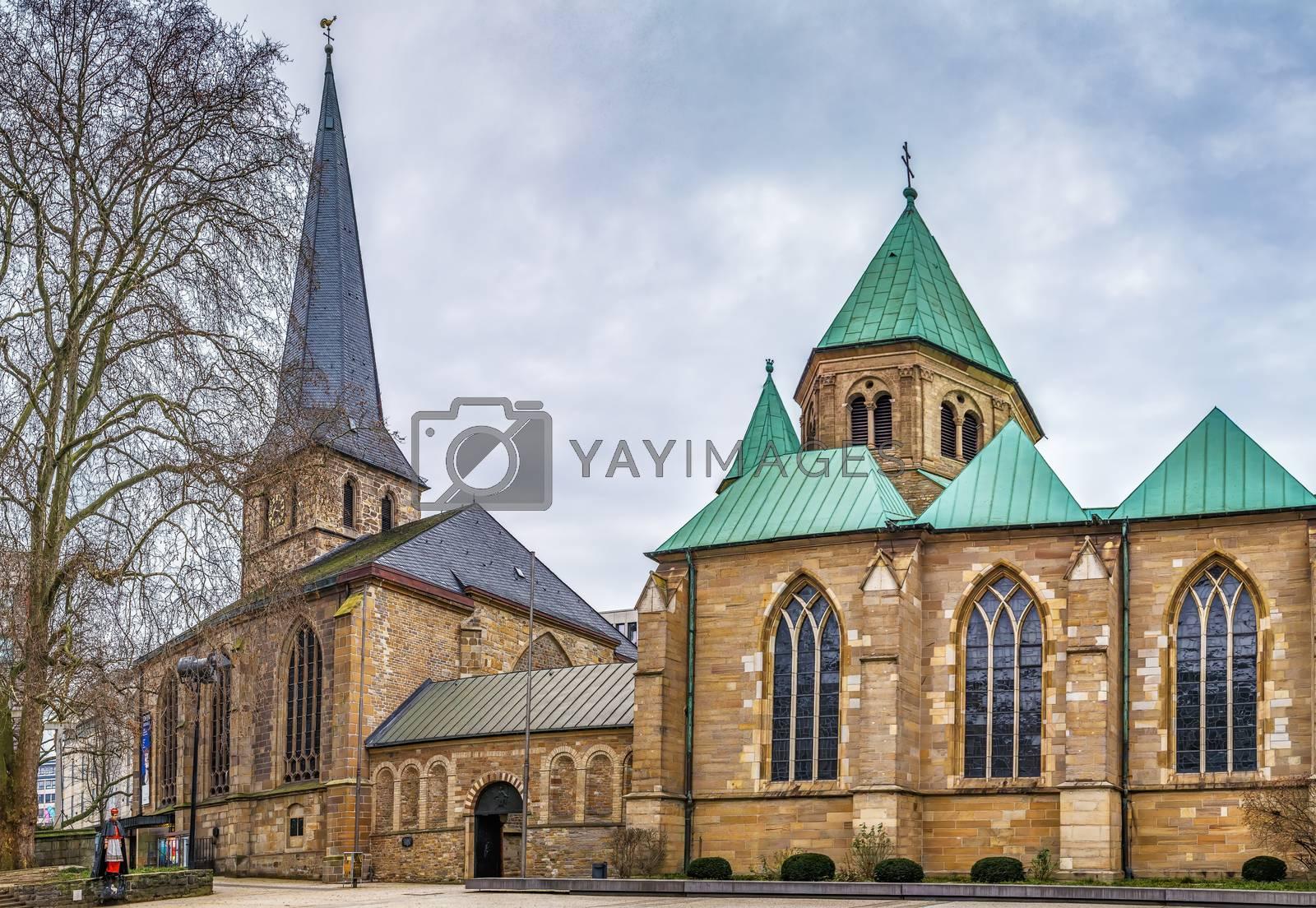 Royalty free image of Essen Minster and St. Johann Baptist church, Germany by borisb17