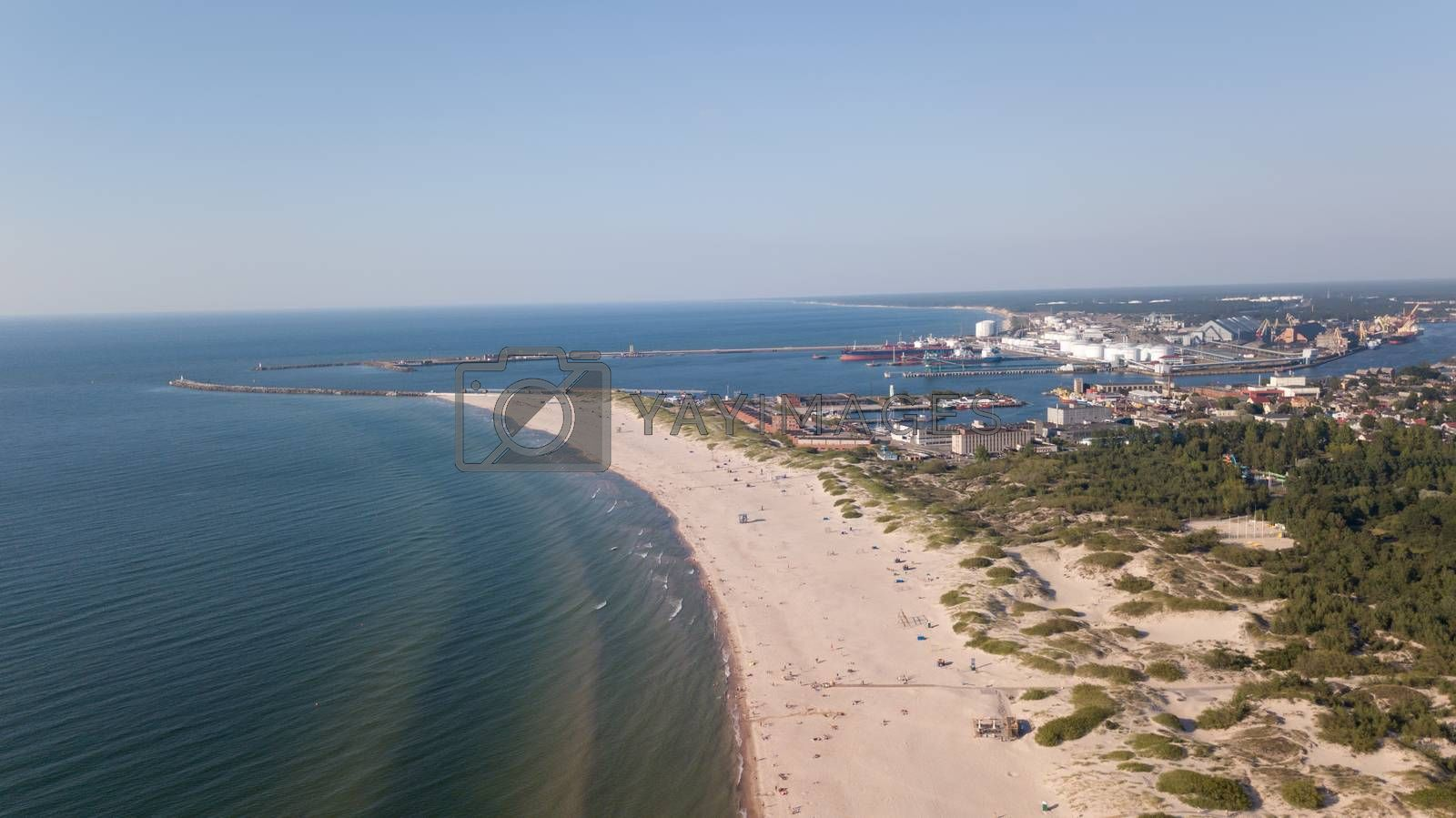 Royalty free image of Baltic Sea coast beach Ventspils Kurzeme aerial drone top view by desant7474