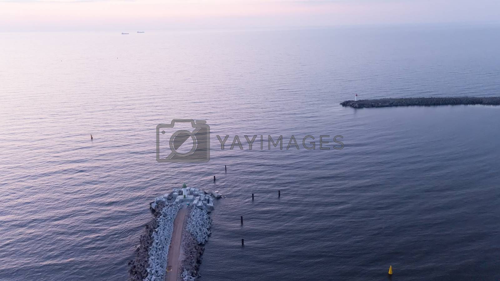 Royalty free image of Harbor Ventspils Latvia Aerial view of countryside drone top view by desant7474