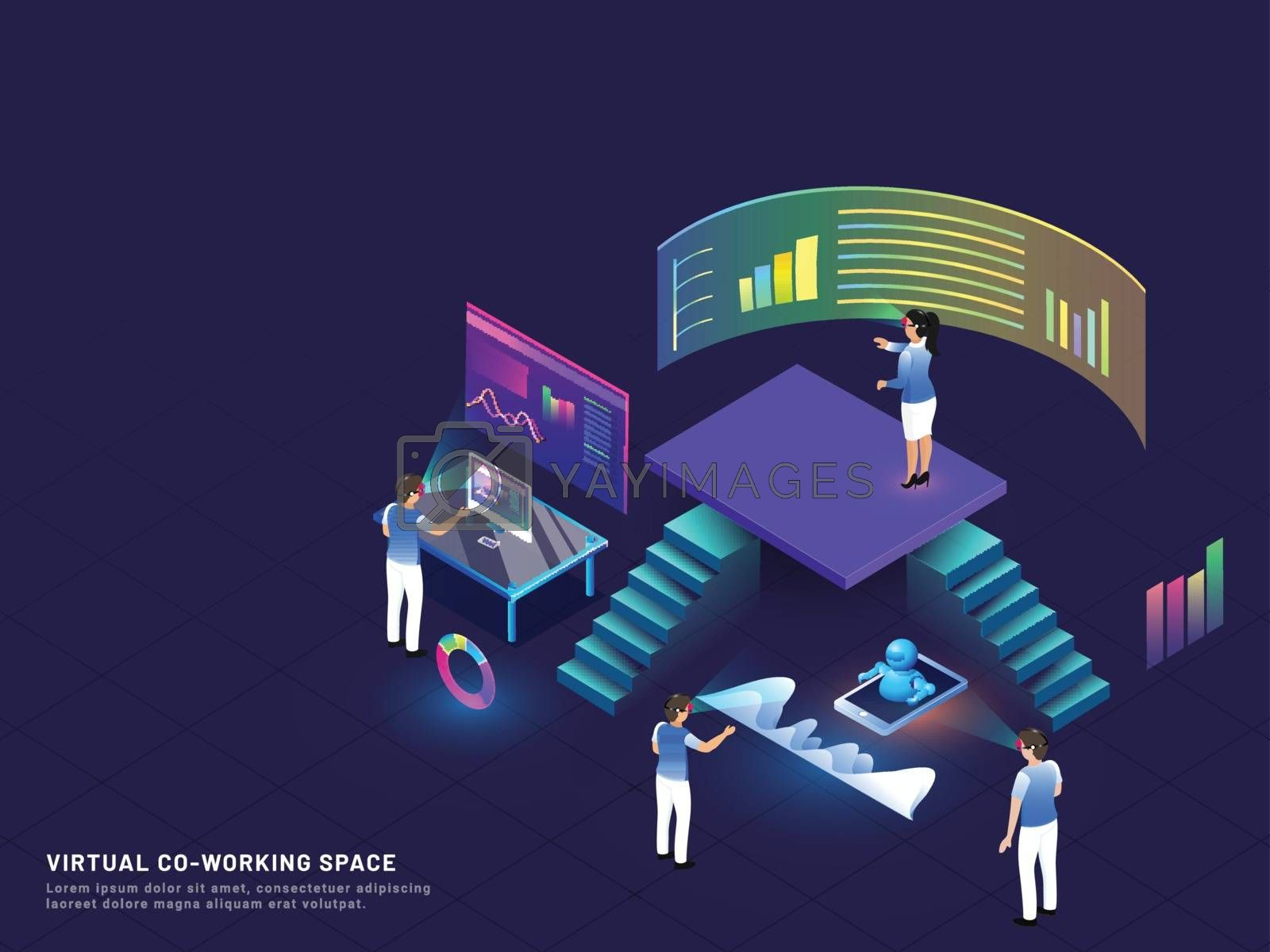 Royalty free image of Remote Co-Working concept based isometric  illustration with min by aispl