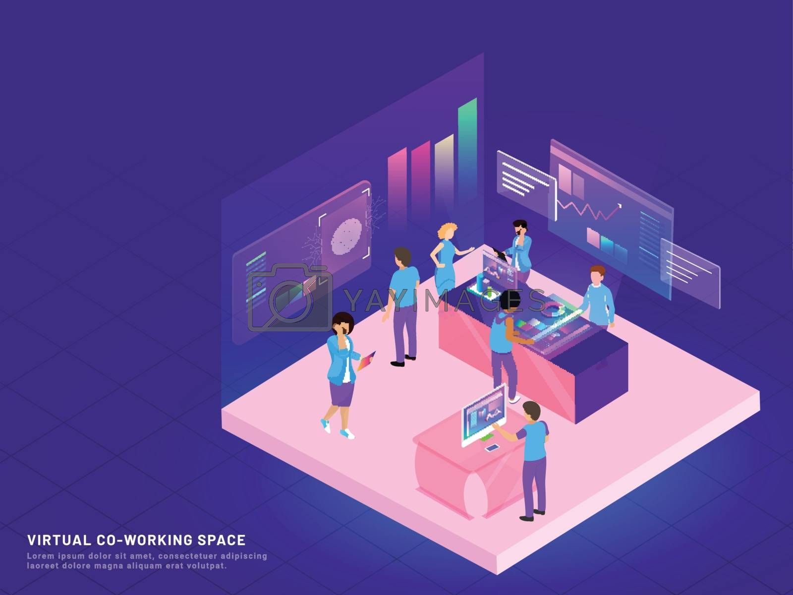 Royalty free image of Virtual Co-Working Space, isometric design with business people  by aispl
