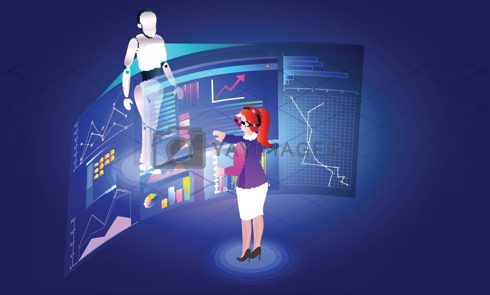 Royalty free image of Virtual reality concept, girl analysis data or stats of a humano by aispl