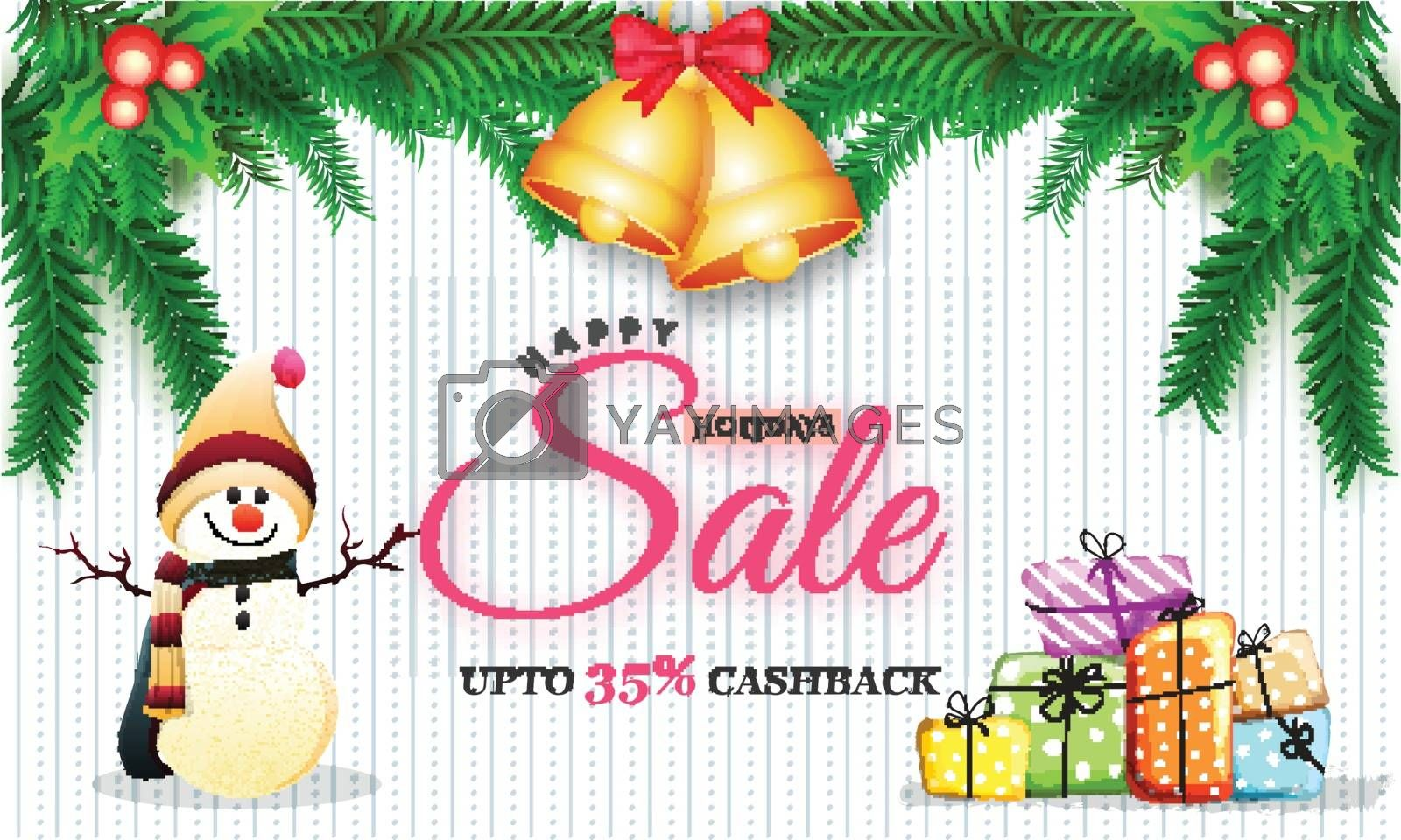 Royalty free image of Happy Holidays Sale Banner with 35% Cashback Offer, Snowman, Gif by aispl