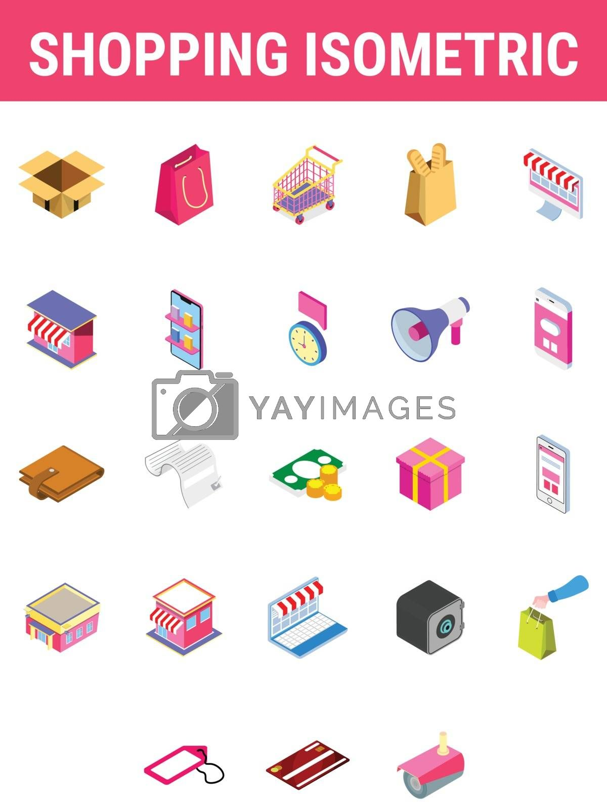 Royalty free image of Set of Shopping isometric icon. by aispl